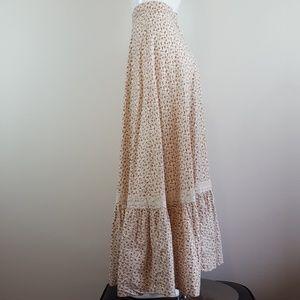 Vintage 70's Cream Floral Boho Prairie Maxi Skirt